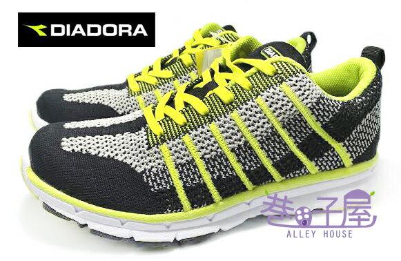 【巷子屋】義大利國寶鞋-DIADORA迪亞多納 男款編織跑鞋 [2005] 黑綠 MIT台灣製造 超值價$690