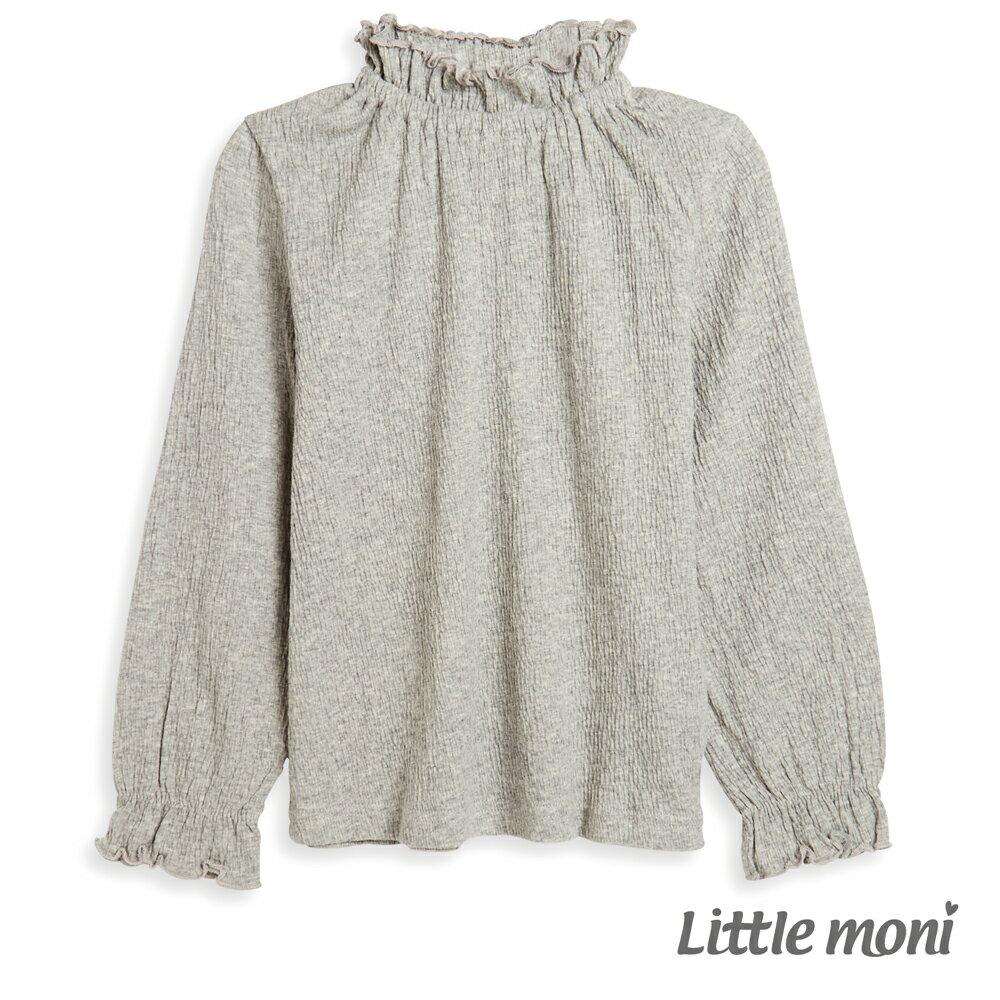 Little moni 荷葉高領上衣-麻花灰(好窩生活節) 0