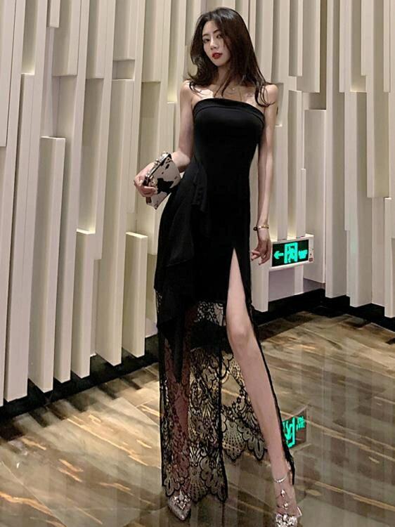 蕾絲洋裝 格格家 夏季名媛性感禮服中長裙修身拼蕾絲抹胸開叉顯瘦連身裙女 果果輕時尚