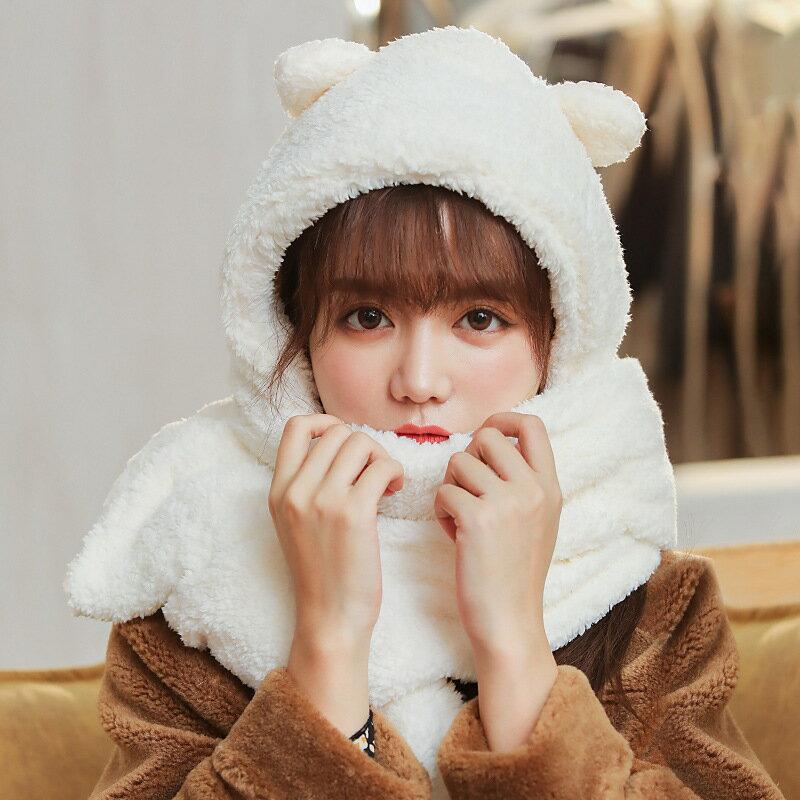 jennie同款毛絨小熊帽子圍巾一體女秋冬保暖防寒圍脖護耳帽
