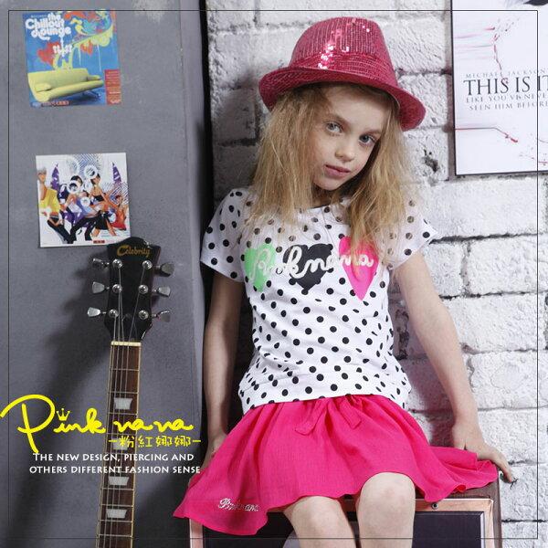 PINKNANA童裝 女童點點造型棉質上衣 短袖T恤 31200
