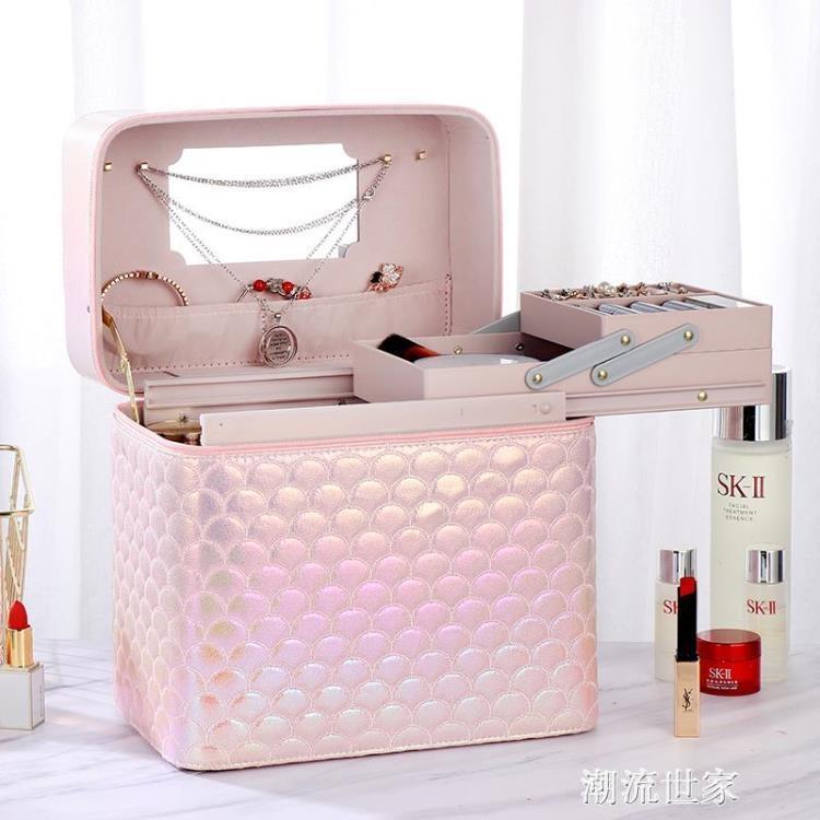 韓國新款網紅手提化妝包ins風 超火變色化妝箱大容量化妝品收納盒
