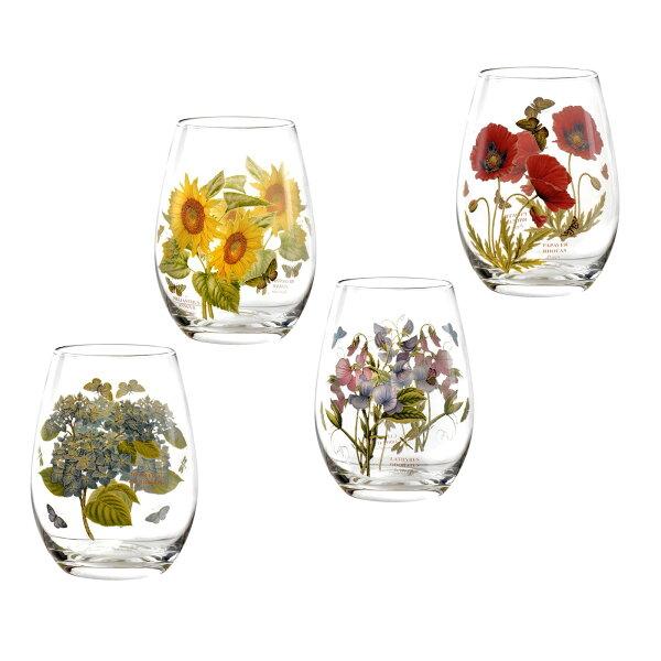 英國Portmeirion植物園4入570ml玻璃水杯酒杯禮盒組