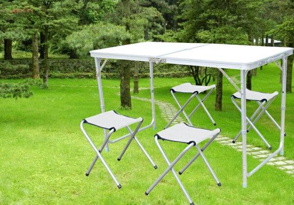 【露營趣】中和TNR-060加固鋁合金休閒桌一桌四椅摺疊桌野餐桌蛋捲桌露營桌