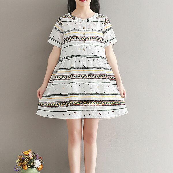 娃娃裝韓國幾何圖案寬鬆V領短袖洋裝【D3380】☆雙兒網☆