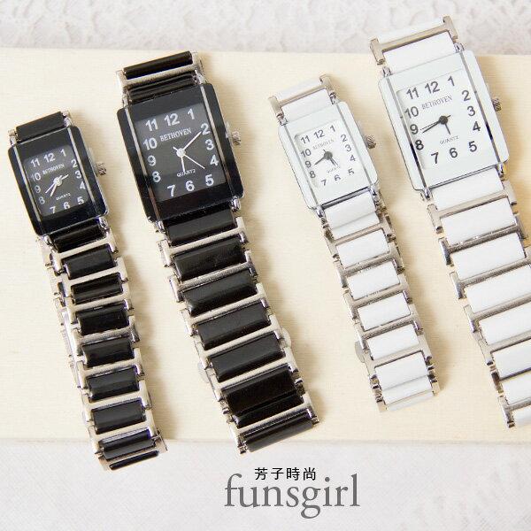 方形數字大小款對錶陶瓷腕錶手錶-2色~funsgirl芳子時尚【B230047】