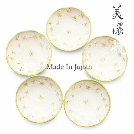 【日本窯元敬白】美濃燒幸運草陶瓷小碟組(5入)~葉綠色‧日本製✿桃子寶貝✿