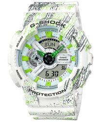CASIO 卡西歐 G SHOCK 日期 計時碼表 霧狀蠟筆紋路設計運動時尚概念休閒錶 綠 男錶 GA-110TX-7ADR 51mm