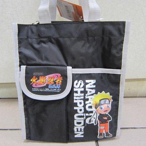 ~雪黛屋~火影忍者小型才藝袋 手提簡單袋上學書包以外放置教具品雨衣雨傘便當袋NA-3780黑