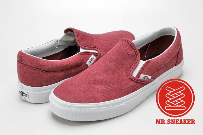 ☆Mr.Sneaker☆ Vans Slip On 經典 復古 休閒/滑板/懶人鞋 水洗帆布 暗紅 酒紅 中性 男女款