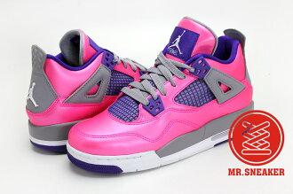 ☆Mr.Sneaker☆ NIKE AIR JORDAN 4 AJ4 GS PINK 徐若瑄 情人節 Vivia 亮面 金屬 珍珠 藍莓 桃紅 粉紅 紫色 深紫 女鞋 大童鞋