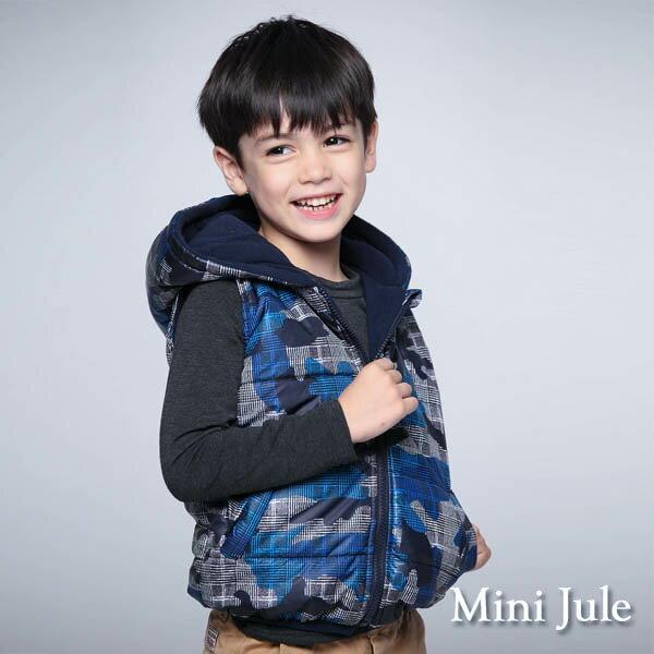 Azio Kids美國派:《MiniJule童裝》鋪棉背心搖粒絨幾何格紋連帽背心(藍)