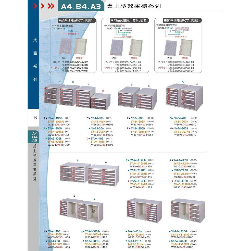 ◎分層好整理◎ SY-B4-TU-2FF B4加深型效率櫃 文件櫃 資料櫃 整理盒 抽屜收納櫃【大富】
