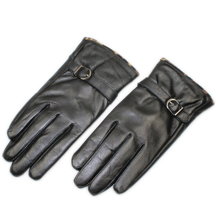 真皮手套保暖手套-羊皮加絨豹紋搭扣女手套73wm74【獨家進口】【米蘭精品】 1