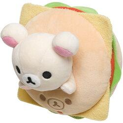 X射線【C714587】牛奶熊Korilakkuma 漢堡公仔,絨毛/填充玩偶/玩具/公仔/抱枕/靠枕/娃娃