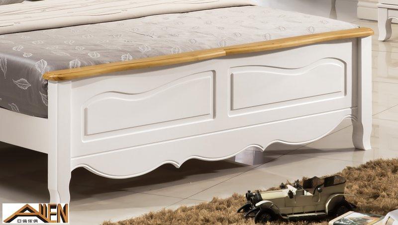 亞倫傢俱*貝妮雅紐松實木6尺雙人加大床架 (白色) 2