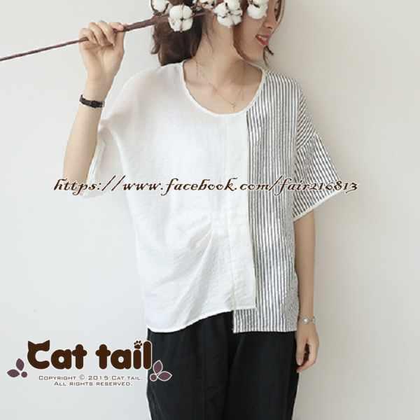 《貓尾巴》LZ-03049日系拼接休閒條紋短袖上衣(森林系日系棉麻文青清新)