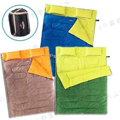 【露營趣】中和安坑 NatureHike Double 帶枕頭雙人睡袋 纖維睡袋 化纖睡袋 露營睡袋 信封型睡袋