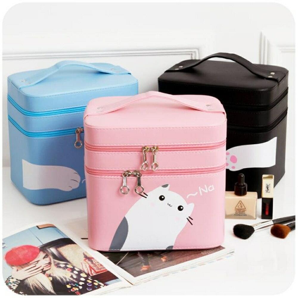 化妝包大容量少女心簡約可愛便攜大號多層收納盒小號品手提化妝箱 雙12購物節