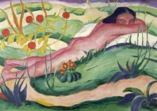 Nude Lying In The Flowers Poster Print by Franz Marc (10 x 14) f96a3768b670c1d089a625ffdbef7270