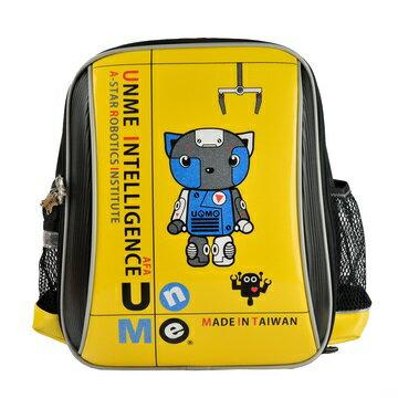 X射線【Cy3037a】UnMe護脊鏡面後背書包(Robot機器人站.黃)3037台灣製造,開學必備/護脊書包/書包/後背包/背包/便當盒袋/書包雨衣/補習袋/輕量書包/拉桿書包