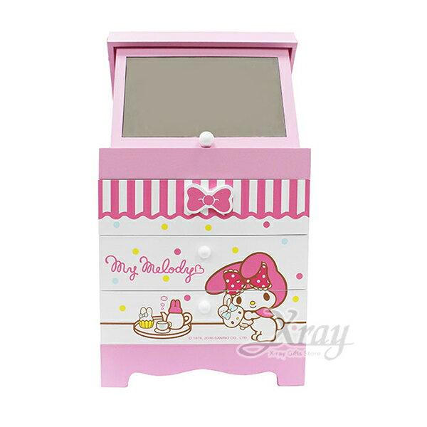 X射線【C382371】美樂蒂Melody繽紛化妝鏡盒,置物櫃收納櫃收納盒抽屜收納盒木製櫃木製收納櫃收納箱桌上收納盒