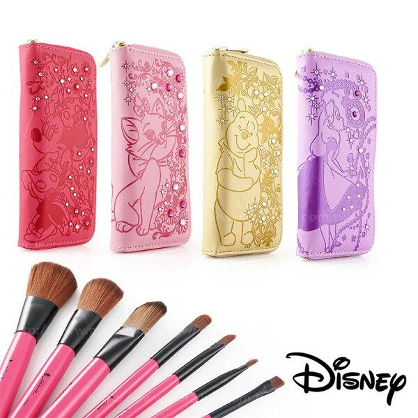 Miravivi:Disney迪士尼皮革壓紋水鑽化妝刷具套組