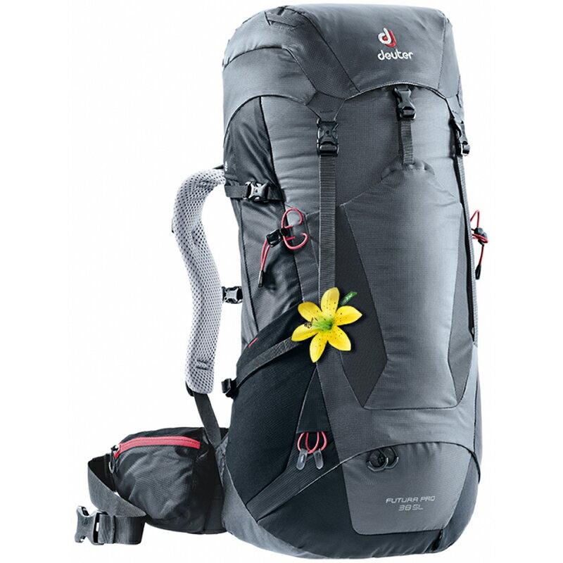 【露營趣】送手電筒 德國 Deuter 3401218 FUTURA PRO 38SL 灰/黑 透氣網架背包 登山背包 旅遊背包 休閒背包 後背包 自助旅遊