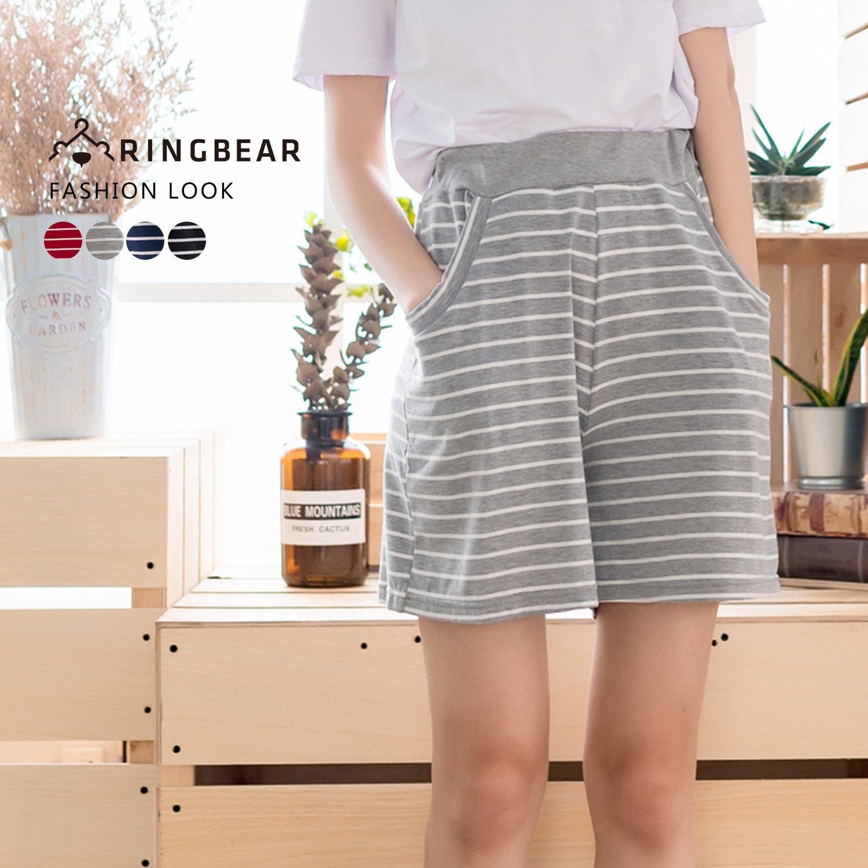 寬褲--俏皮舒適橫條紋彈性褲頭棉質中腰寬口鬆緊五分褲(黑.灰.紅.藍M-L)-R69眼圈熊中大尺碼 1