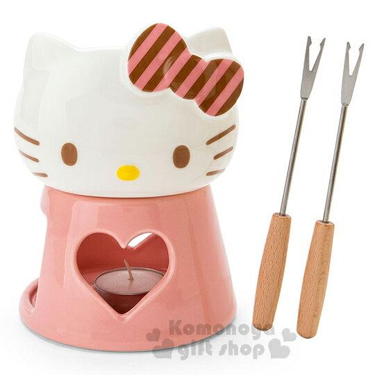 〔小禮堂〕Hello Kitty 日製陶瓷巧克力火鍋組《粉.條紋蝴蝶結.大臉》新生活系列