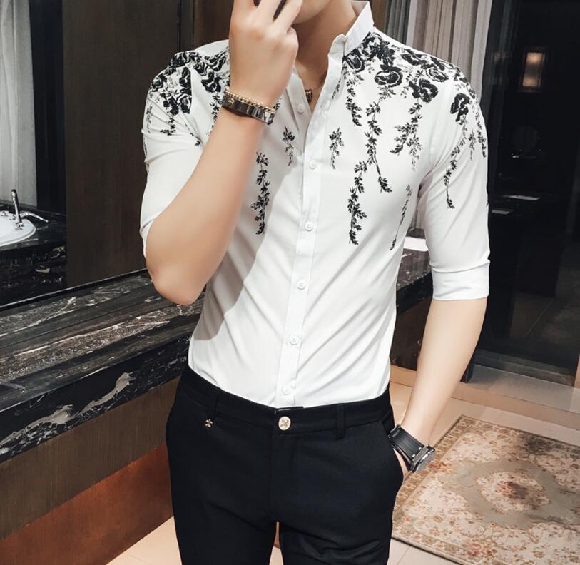 FINDSENSE品牌 男 時尚 潮 薄款 花朵圖案印花 修身 中袖襯衫 七分袖襯衫