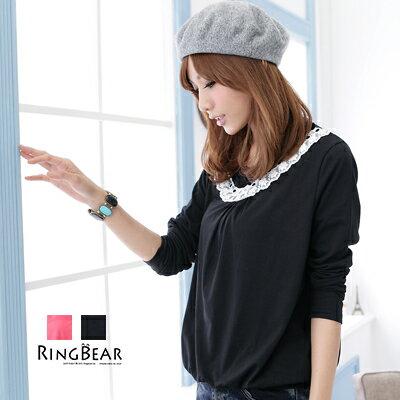 長袖上衣--優雅秀美的流行感蕾絲緞帶抓皺長袖上衣(黑.桃S-XL)-X14眼圈熊中大尺碼 - 限時優惠好康折扣