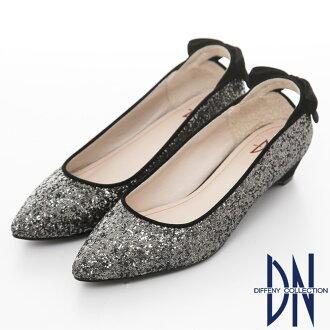 DN 魅力滿分-金蔥閃料時尚蝴蝶低跟鞋-黑