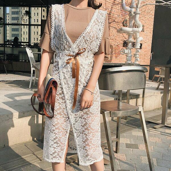 短袖洋裝蕾絲鏤空開衩抽繩連身裙喇叭短袖T恤兩件套【NDF6443】BOBI0503