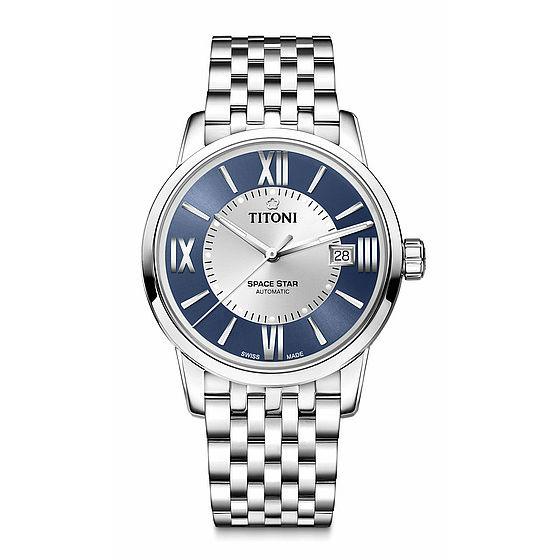 TITONI瑞士梅花錶天星系列83538S-580圓弧羅馬經典腕錶藍40mm