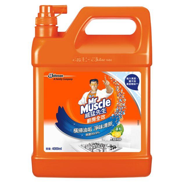 (箱購)威猛先生  廚房清潔劑   廚房全效(清爽檸檬)(4000ml*4罐/箱)