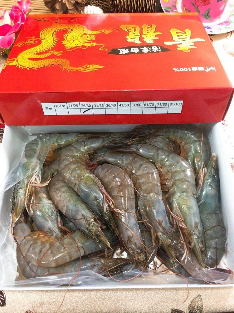 泰國頂級青龍海白蝦 重量:600g5%/盒