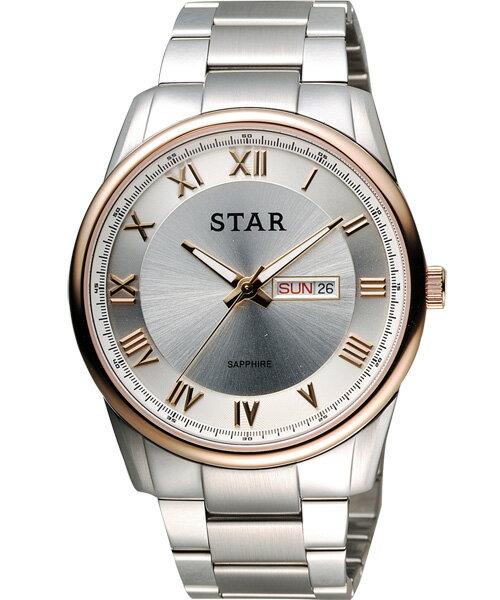 STAR時代錶 1T1512-211RG-W 經典羅馬時尚腕錶/白面43mm