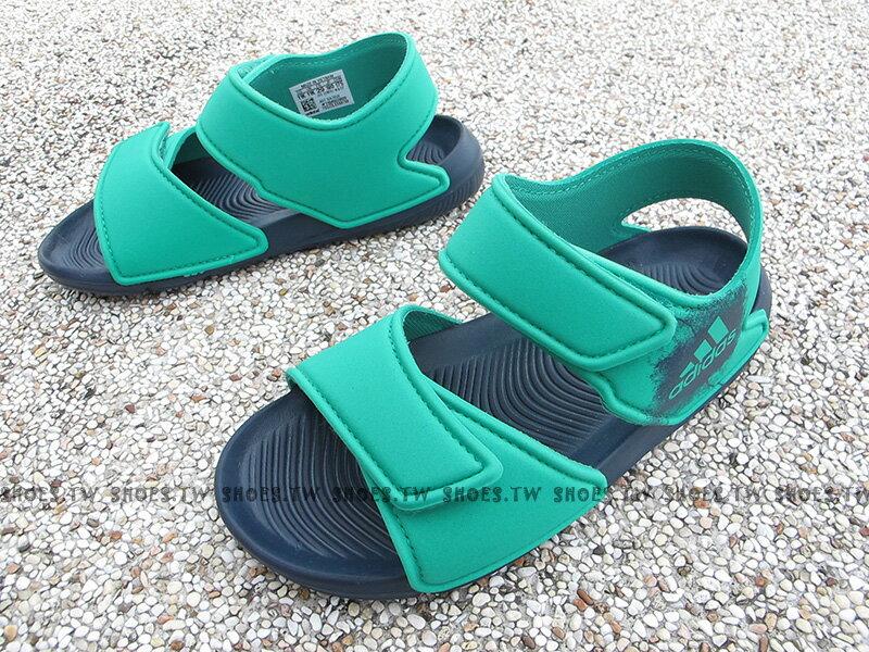 《下殺6折》Shoestw【BA7850】ADIDAS Alta Swim C 童鞋 涼鞋 綠藍 雙黏帶 中童