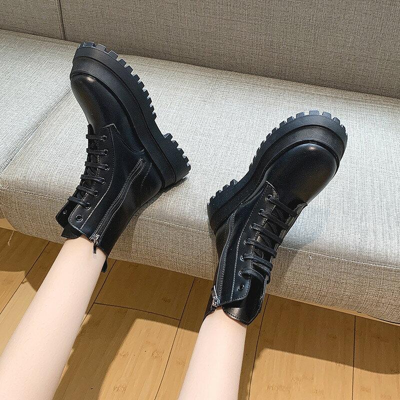 馬丁靴新款百搭英倫風靴顯腳小厚底復古時尚短靴子