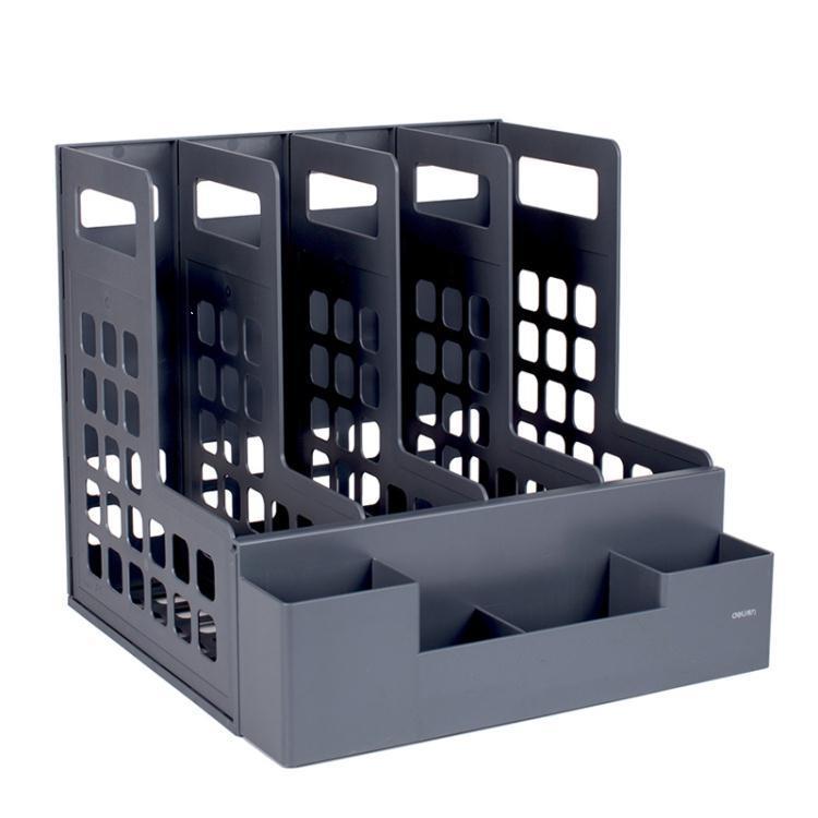 得力四聯文件框 文件架子置物架 文件夾收納盒立式 書架 資料架辦 樂樂百貨