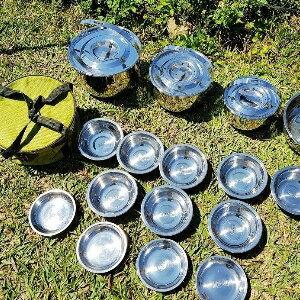 美麗大街【107031212】6〜7人戶外炊具野營不銹鋼鍋具套裝