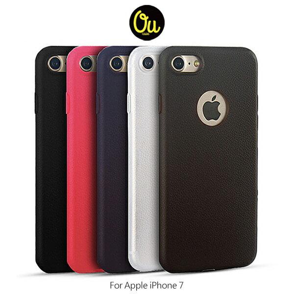 強尼拍賣~ Oucase Apple iPhone 7 4.7吋 簡逸背套 TPU軟套 皮革紋路 鏡頭保護 保護套