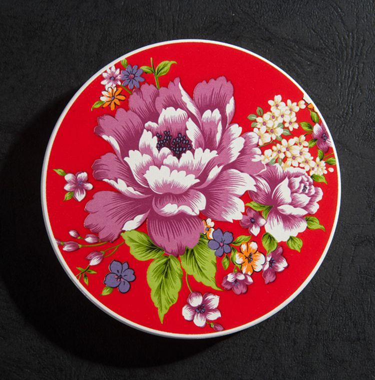 【新太源】台灣花布系列-神奇吸水陶瓷杯墊 紅