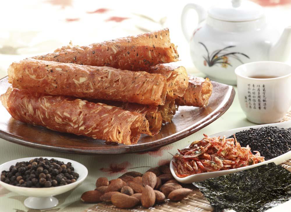 ~明成軒~蛋捲型原味杏仁豬肉薄片 120g