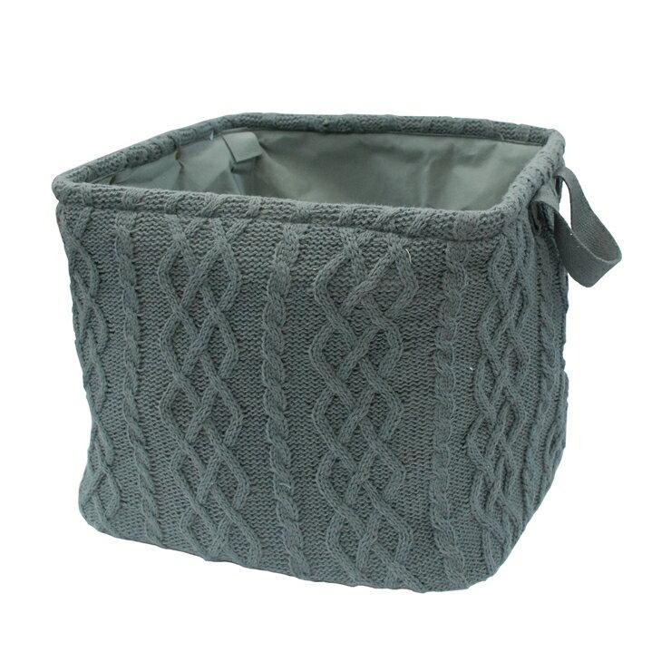 【凱樂絲】灰色方型毛線編織可摺疊收納籃,附把手。衣物、玩具收納的好幫手