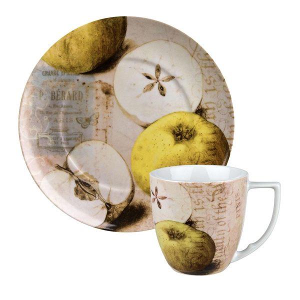 德國Waechtersbach經典彩繪系列390ml馬克杯+21cm盤組-Nature青蘋果