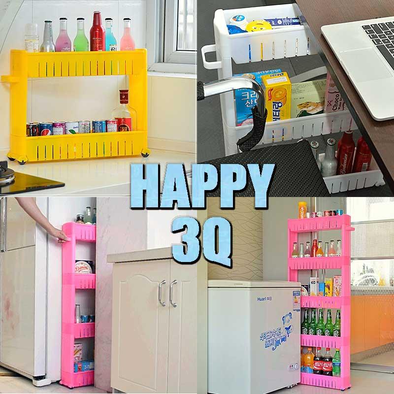 隙縫櫃書桌廚房冰箱縫隙收納架置物架附輪四層塑膠多層整理架子-白/黃/紅【AAA0386】