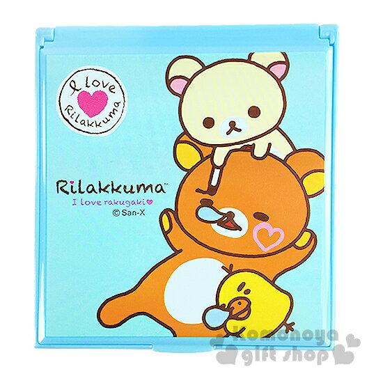 〔小禮堂〕懶懶熊 折疊鏡《藍.睡覺.牛奶熊.小雞》
