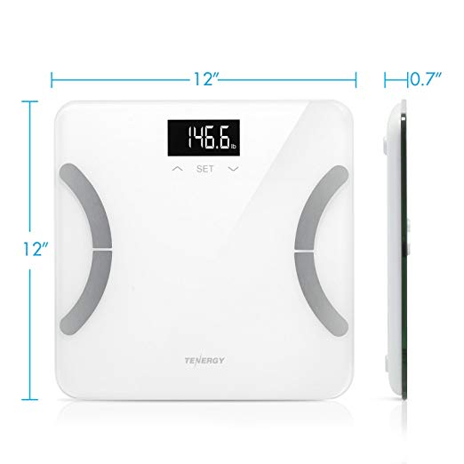 Tenergy Vitalis Weight Scale, Bluetooth Connected APP Scale, High Precision  BMI Scale with Large Easy Read Backlit LCD, Body Scale, Max Weight 400
